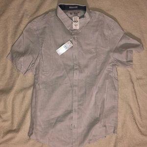 MENS Penguin Button Up Grey Shirt